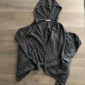 M/L Roxy hooded sweater cape poncho grey CUTE 👀🖤